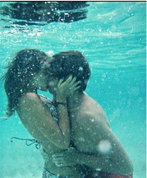 Nude couples underwater sex