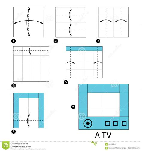 Origami Tv - step by step how to make origami a tv stock