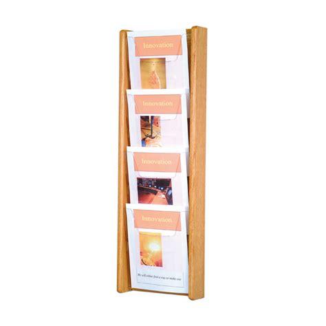 Literature Rack Wall Mount by 4 Pocket Wall Mount Oak Literature Rack