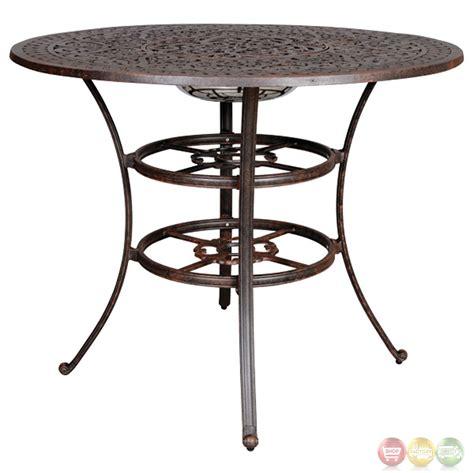 Fiesta 6 Piece Cast Aluminum Counter Height Fire Pit Table Set