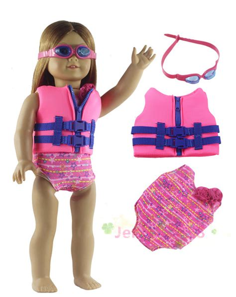 Fashion Ransel Ms1861 Set 3in1 3in1 set doll clothes vest swimsuit glasses for 18 quot american doll our generation in