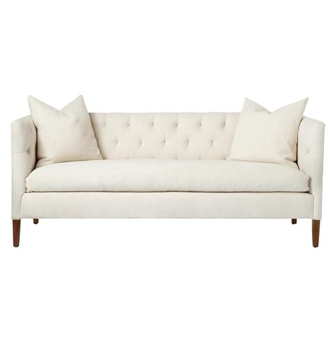 feather sofa nell mid century ivory tufted feather down straight sofa
