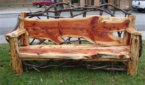 cedar log bench wood furniture pinterest details about mountain laurel handmade cedar outdoor rustic log bench bacon logs