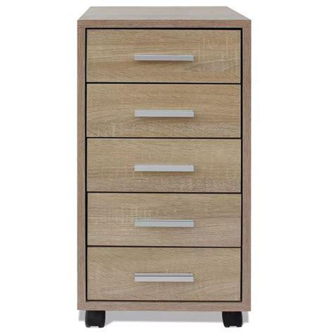 oak drawer unit vidaxl office drawer unit with castors 5 drawers oak