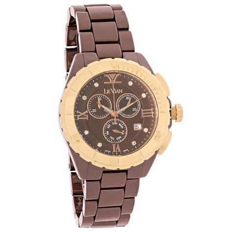 levian chocolate ceramic chronograph quartz