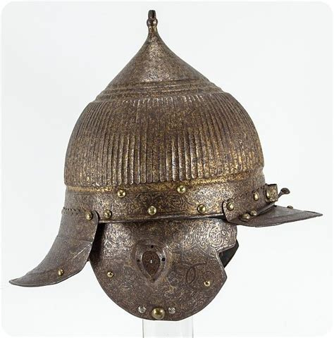 Ottoman Empire Artifacts Burgonet Zisch 228 Gge Date Ca 1560 70 Culture German Medium Steel Gold Copper Alloy Leather