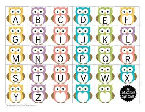 printable owl holding a letter card template large owl themed name for the educators spin on it