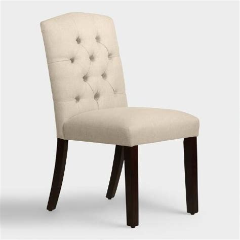 Upholstered Linen Dining Chairs Linen Tufted Zoey Upholstered Dining Chair World Market