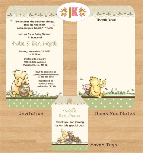 Vintage Winnie The Pooh Baby Shower by Classic Winnie The Pooh Baby Shower Printed By Jukadesignz