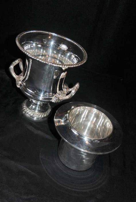 pair victorian silver plate champagne wine buckets urns vase