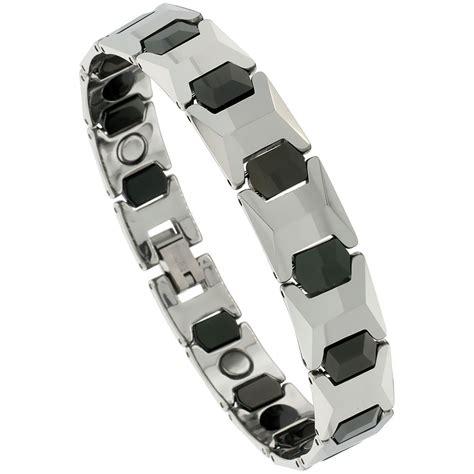 Bracelet Magnetic Tungsten Cramic Kesehatan Black Silver 1 tungsten carbide magnetic bracelet 2 tone faceted cushion links ebay