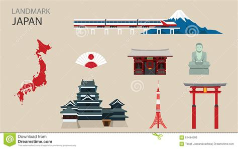 Cherry Dining Room Table And Chairs flat icons design landmark japan stock vector image