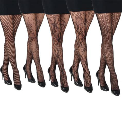 patterned tights vogue 5 pairs of ladies assorted black fishnet patterned fashion