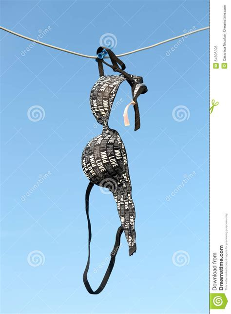 hanging photos on wire bra hanging on a wire stock photo image 54896396