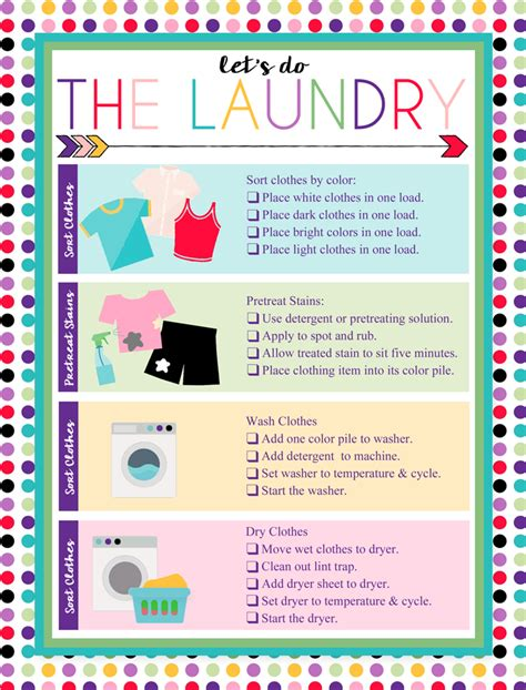 printable laundry chart organizing cleaning