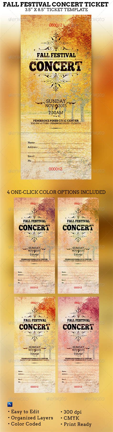 gig ticket template fall festival concert ticket template concert ticket