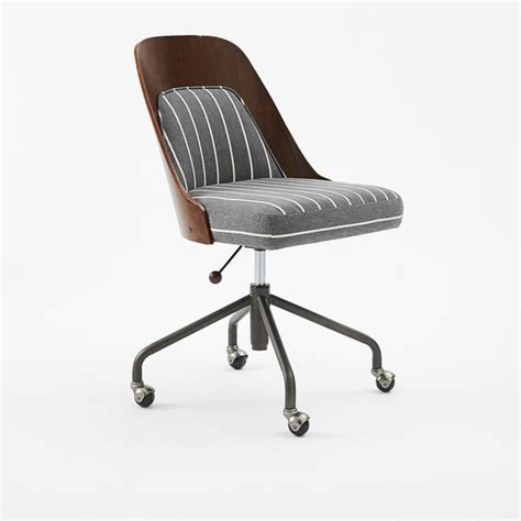 bentwood office chair cushion walnut gray white