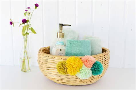 diy bathroom baskets diy yarn pom pom basket