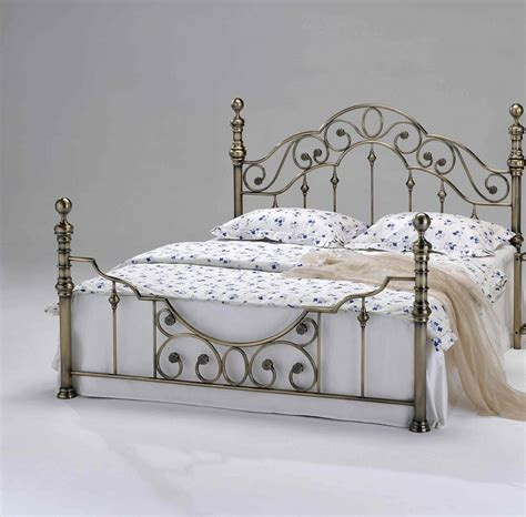 new luxury brass metal bed frame victorian antiqued shabby chic double king size ebay