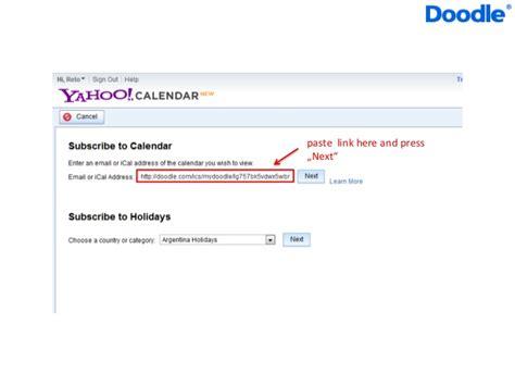 doodle integration with calendar doodle yahoo calendar integration