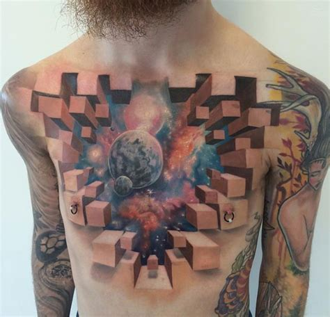 3d space chest tattoo best tattoo design ideas