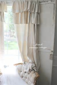 Extra Long Sheer Curtains Double Ruffle Drop Cloth Panels French Country Cottage