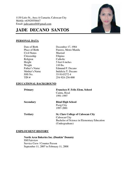 simple curriculum vitae template exles of resumes 10 how to write a simple resume
