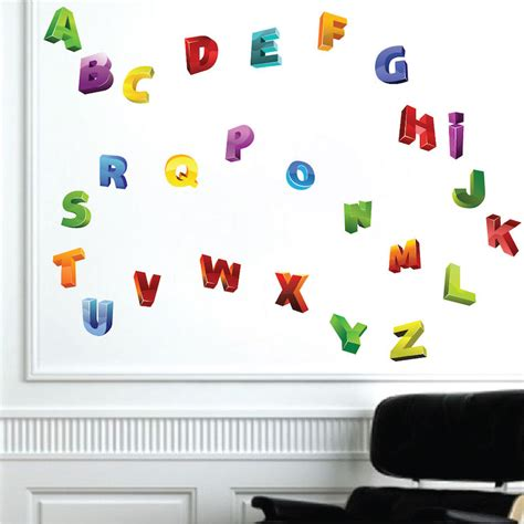 alphabet wall decals for nursery 3d alphabet wall decals nursery wall decal murals