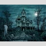 Wallpapers Winter Night Haunted House Moon Overgrown Ghost 1024x600 ...