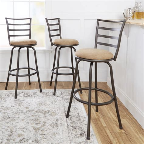 mainstays adjustable metal swivel bar stools set of 3 mainstays adjustable height swivel barstool