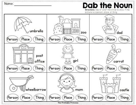 Noun Worksheets For Kindergarten by Noun Worksheets For Kindergarten Nouns Worksheets