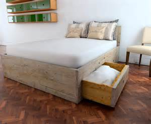 King Size Bed Base Board Reclaimed Scaffold Board Bed Base With 4 Large Drawers