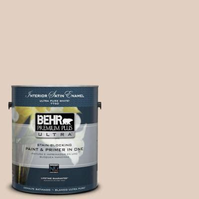 behr premium plus ultra 1 gal n240 2 adobe sand satin enamel interior paint 775001 the home
