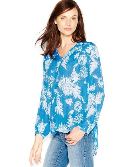 Baju Blouse Blus Denim Printing lucky brand lucky brand printed peasant blouse in blue blue multi lyst