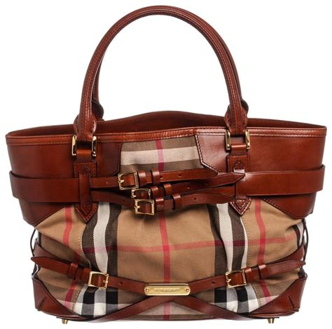 burberry nova check tote brown monogram coated canvas