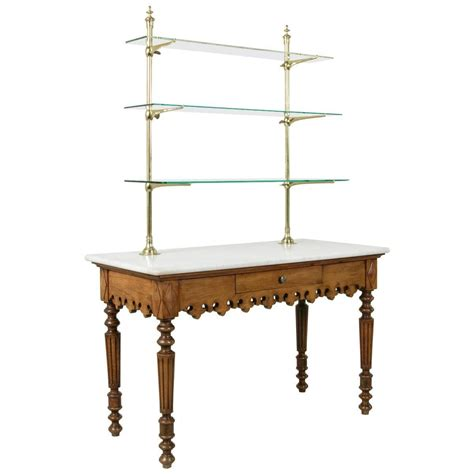 Pastry Shelf by Antique Marble Top Pastry Table With Bronze Display