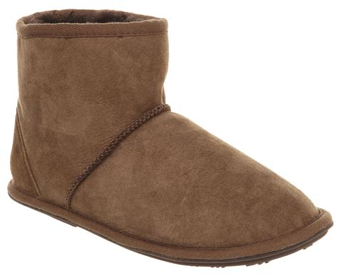 slipper boots mens mens just sheepskin chester slipper mid boot choc suede ebay