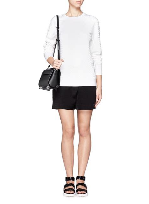 Chastity Handbag Black wang leather satchel discount wang