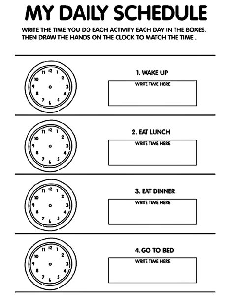 My Daily Schedule Coloring Page Crayola Com My Daily Schedule Template