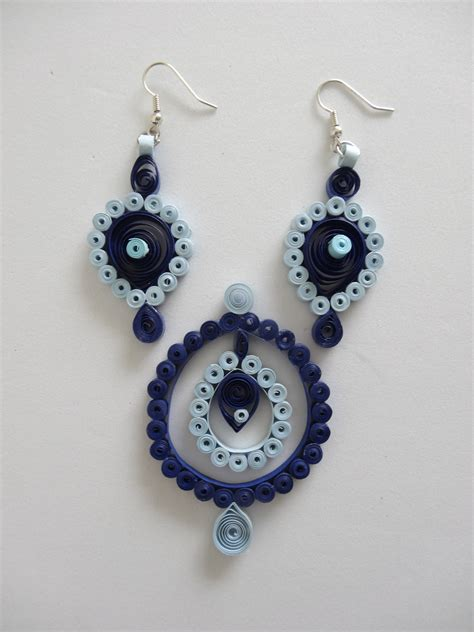 Paper Quilling Earrings - blue paper quilled earring pendant set quilled jewelry