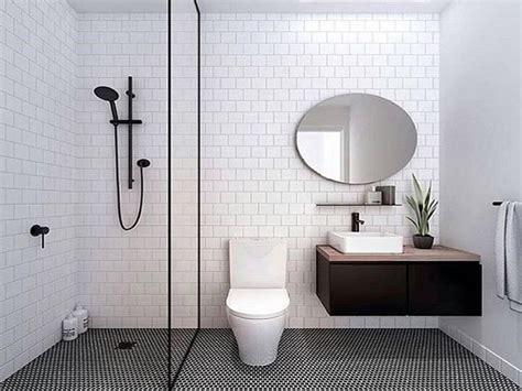 desain kamar mandi nuansa hitam putih perfeksi desain kamar mandi visualisasi desain modern