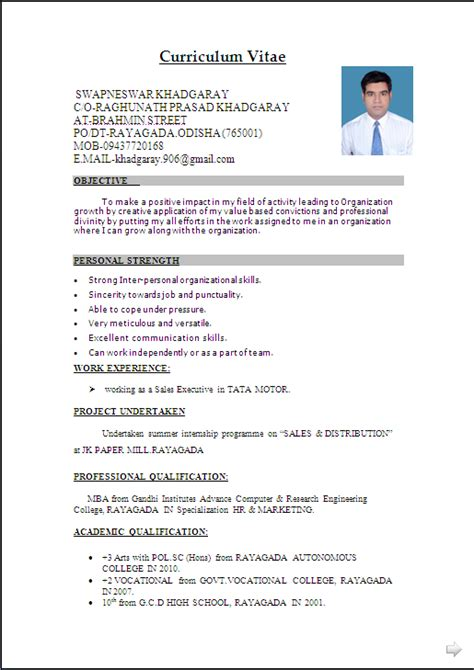 Resume Format Word Document by Resume Sle In Word Document Mba Marketing Sales Fresher Resume Formats Cv