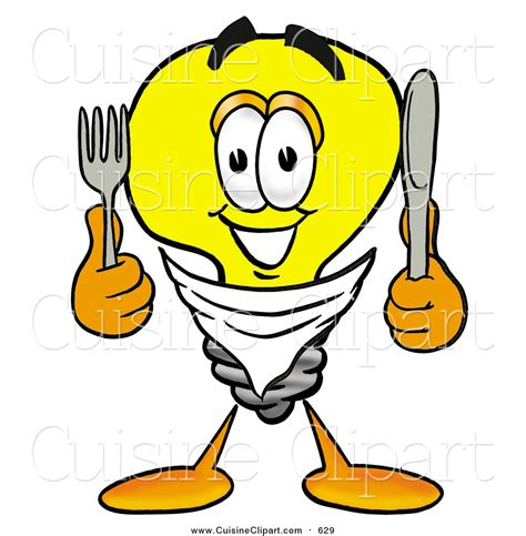 cuisine clipart of a light bulb mascot holding a knife and