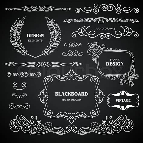 ornament design elements vector set vintage style chalkboard design elements set of drawing