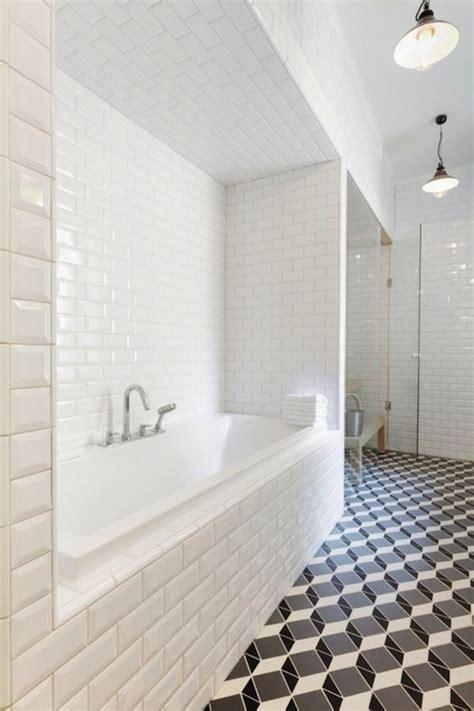 black and white subway tile bathroom beveled subway tile design ideas
