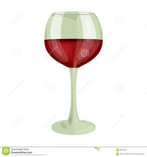 cartoon white wine wine glass vector icon isolated on white vector