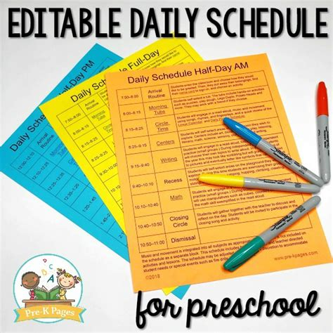 preschool classroom schedule template preschool daily schedule and visual schedules