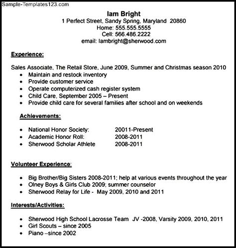 high school resume template pdf download sle templates