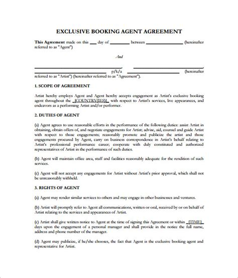 10 Booking Agent Contract Templates To Download Sle Templates Talent Agency Contract Template