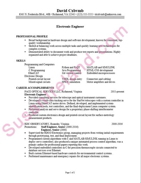 Electronics Engineering Resume Sles by Resume Sle For An Electronics Engineer Susan Ireland Resumes